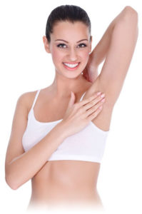 woman with hairless armpit