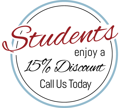Students enjoy a 15% off discount